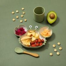 Bopoobo-platos de succión de silicona para bebé, plato de alimentación antideslizante para niño, tazón de alimentación de comida para bebé