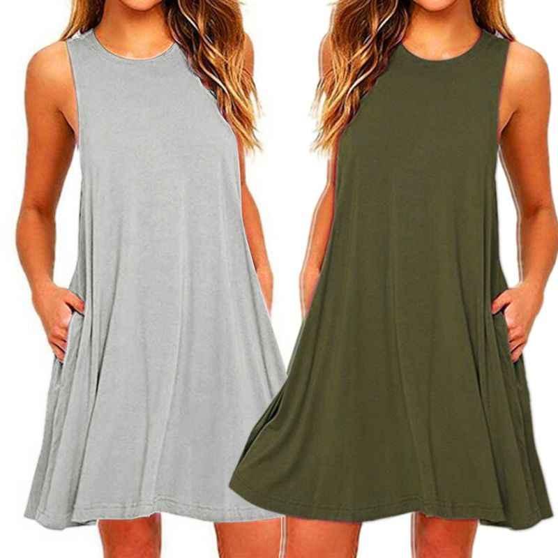 2020 여성 여름 캐주얼 스윙 티셔츠 드레스 비치 커버 포켓 플러스 사이즈 루스 티셔츠 드레스
