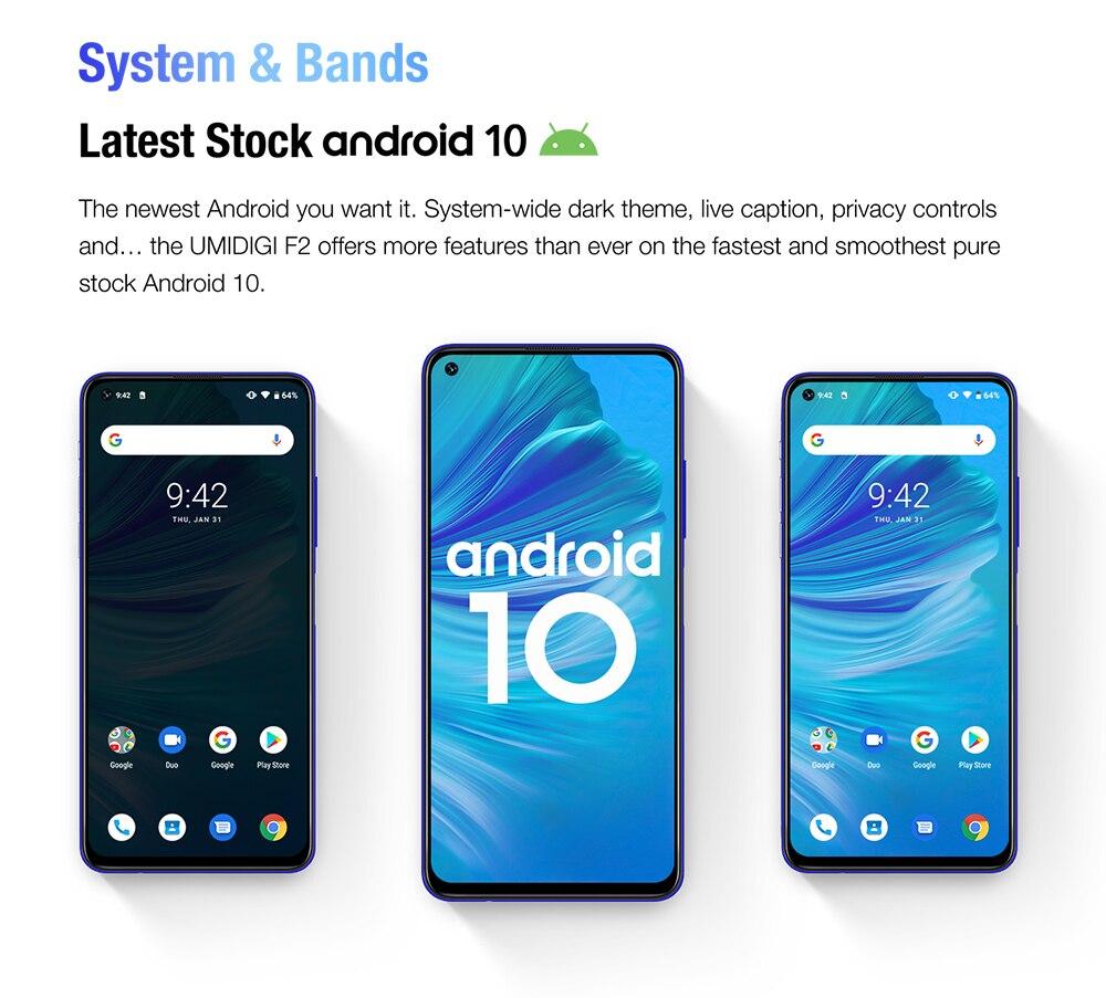 "Hac6728bcfb4545d18575fc085dd706b7l Pre-sale UMIDIGI F2 Android 10 Global Version 6.53""FHD+6GB 128GB 48MP AI Quad Camera 32MP Selfie Helio P70 Cellphone 5150mAh NFC"