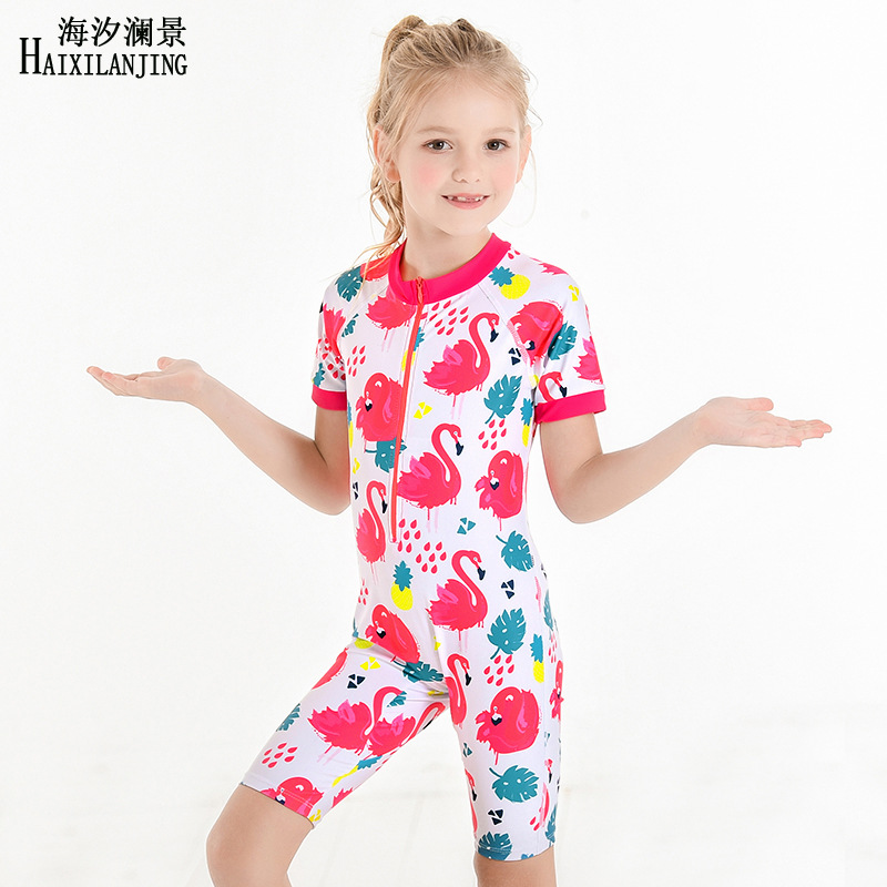 Hai Xi Lan Jing 2019 New Style KID'S Swimwear Half Sleeve Sun-resistant Girls Boxer One-piece Swimming Suit Children 1-9-Year-Ol