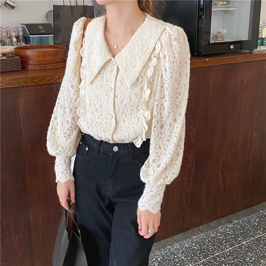 Hac674961c47e4c3db2067947d39f5b42Y - Spring / Autumn Chelsea Collar Long Sleeves Lace Blouse