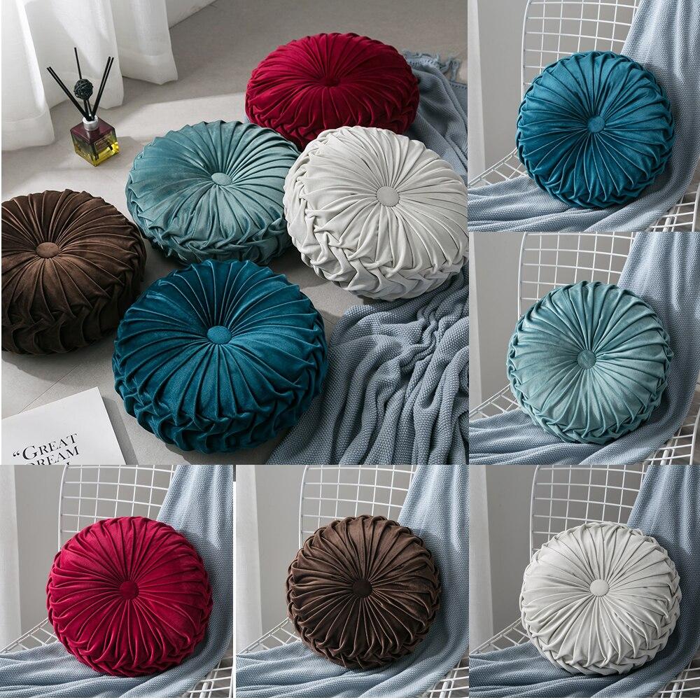 Hac674b1216604ab18ce138fa3c085367v Velvet Pleated Round Floor Cushion Pillow Pouf Throw Home Sofa Decor