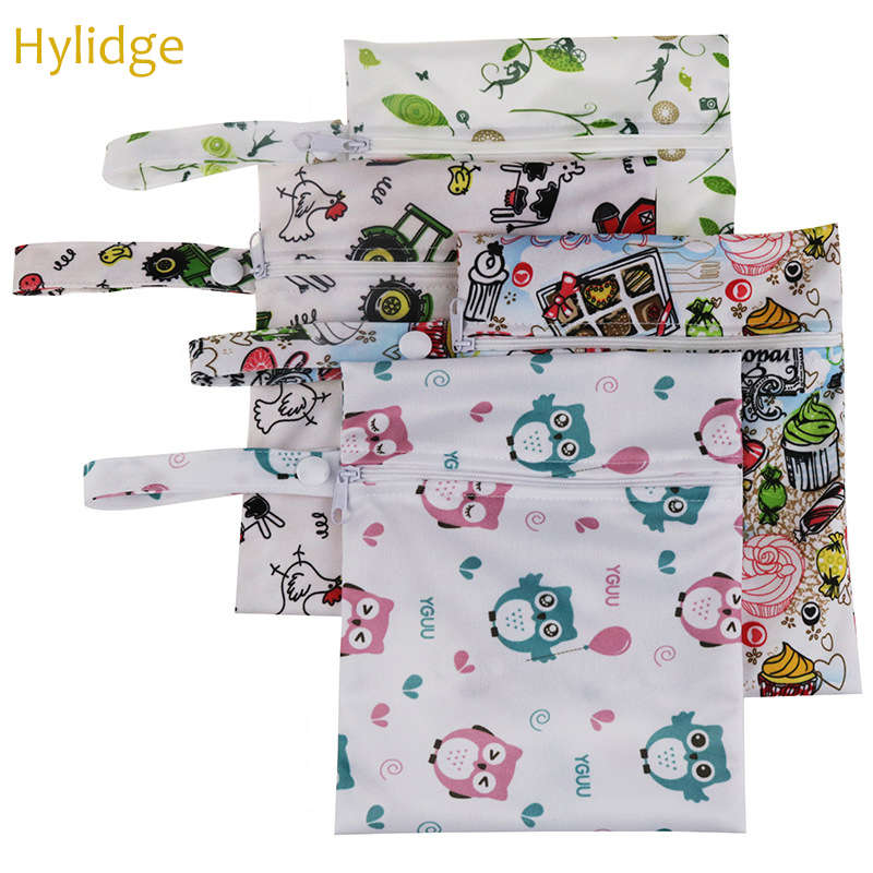 Hylidge Waterproof Pocket Diaper Bag Baby Bags For Mom Printed Nappy Bag Travel Wet Dry Bag Small Baby Diaper Organizer 15*20CM
