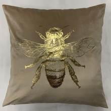 Venda quente folha de inseto impressão quadrado veludo abelha capa de almofada ouro estampagem jogar fronha