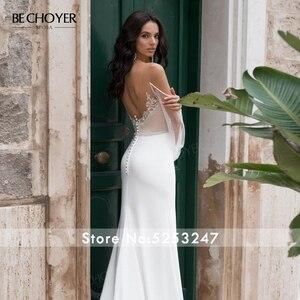 Image 5 - BECHOYER zarif boncuklu saten düğün elbisesi sevgiliye uzun kollu Mermaid 2 In 1 mahkemesi tren gelin kıyafeti Vestido de Noiva N170