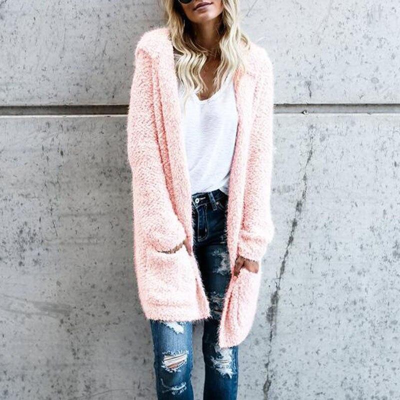 Women Hooded Long Cardigan Straight Pockets Coat Long Sleeve Loose Casual Female Tops