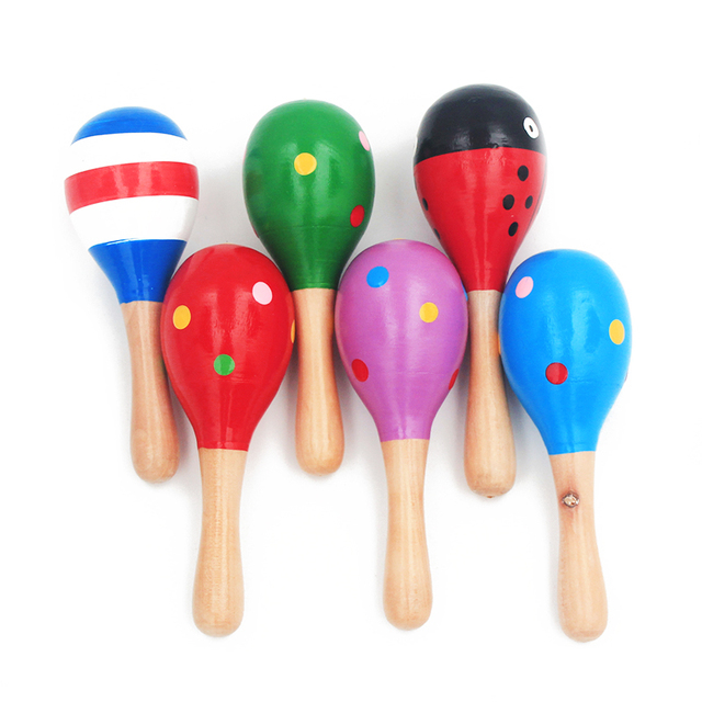 1Pc 12x4cm Infant & Toddlers Wood Sand Hammer Wooden Maraca Rattles Sand Hammer Kids Musical Party Favor Child Baby Shaker Toy 2