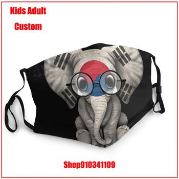 High Quality DIY face mask Baby Elephant With Glasses And South Korean Flag T-Shirt Kids adult men women
