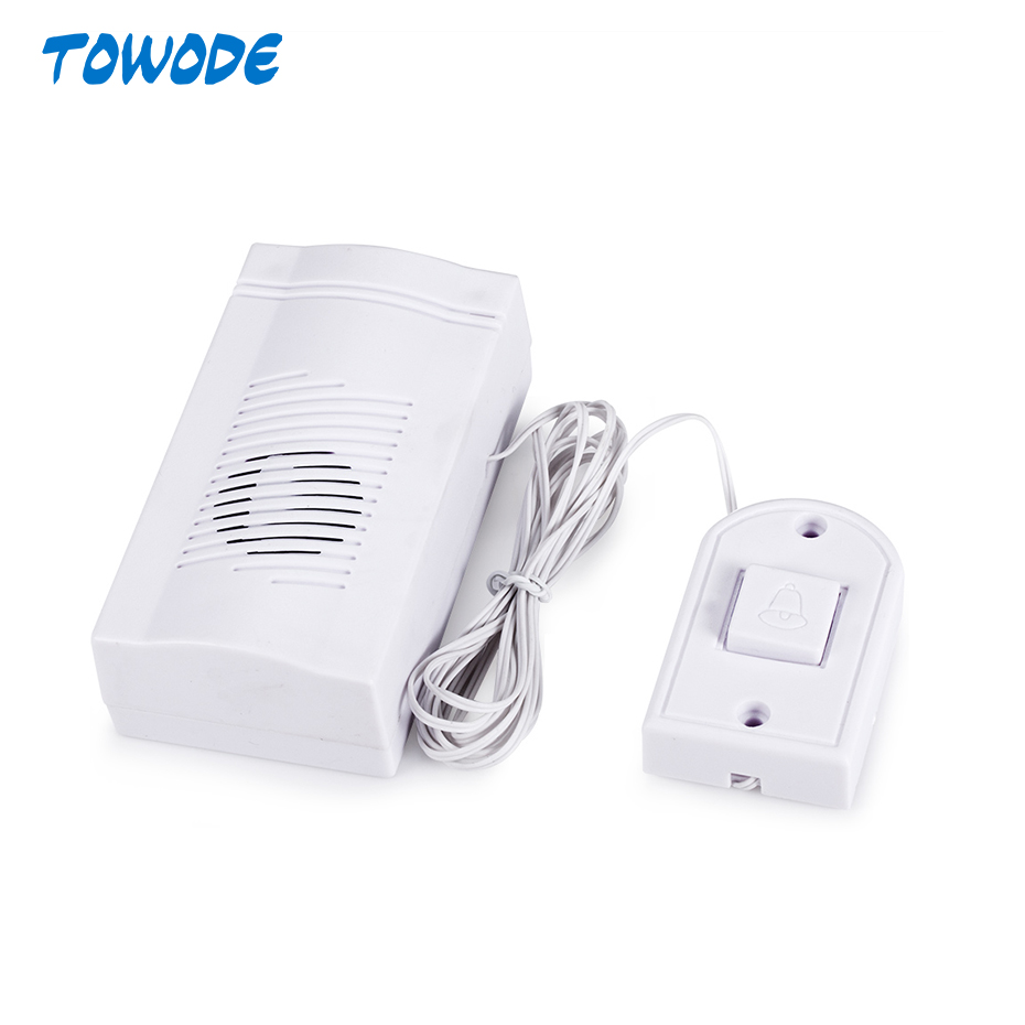 Towode Simple Design Wired Alarm Loud Sound Volume Door Bell Mini Wired Doorbell Home Electronic Door Bell