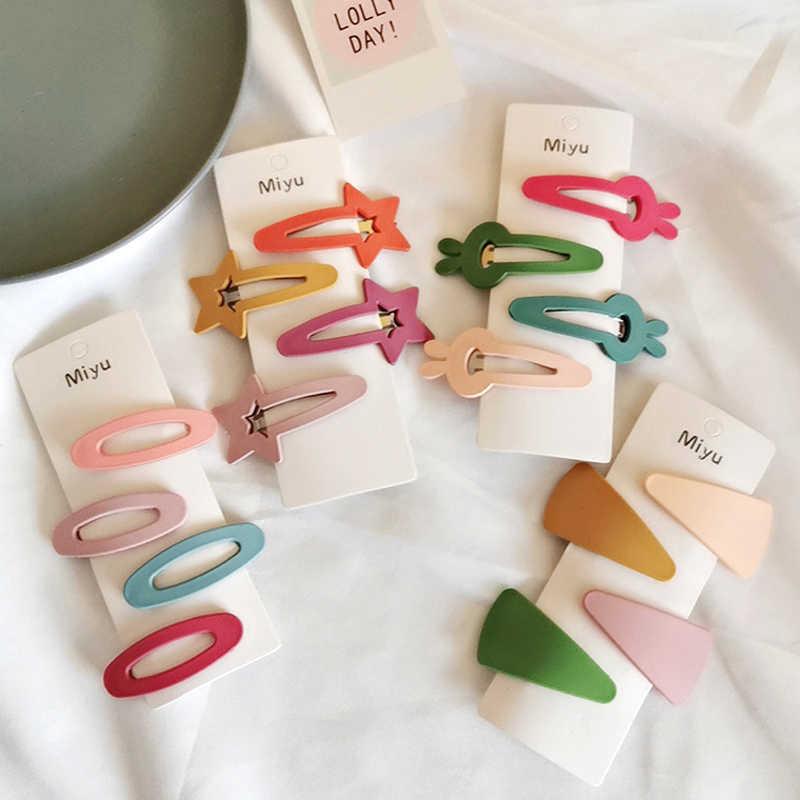 Children Acrylic Geometric BB Hairpins Girls Candy Color Hair Clips Headwear