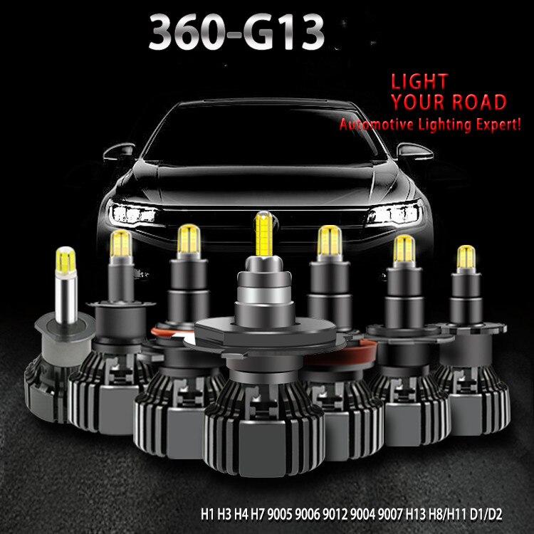 D1S D2S D3S D4S h4 H1 H7 LED H8 H11 HB3 9005 HB4 8 lados 3D 18000LM Perto Distante 360 graus diodo Levou Faróis de alta potência Auto Lâmpada