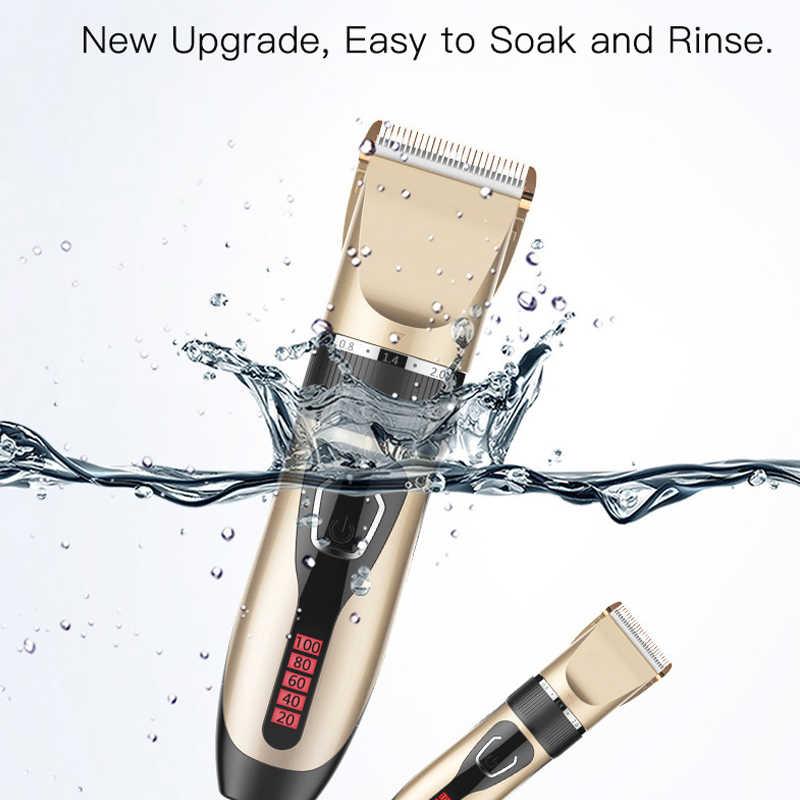 プロバリカン充電式電気デジタル髪トリマースマートベース充電防水男性の散髪ツール