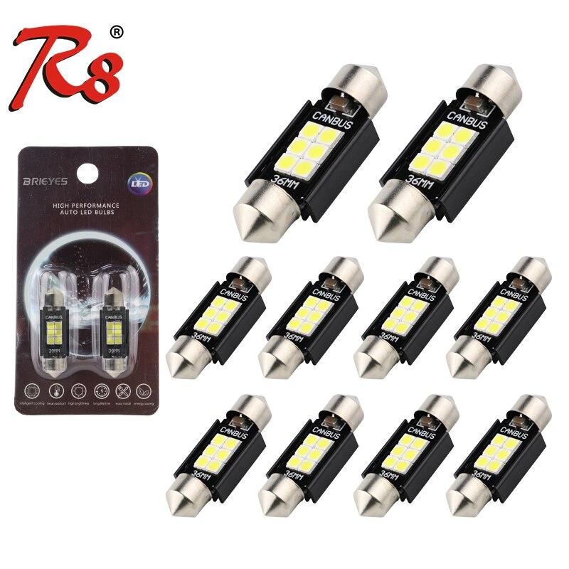 R8 10x C5W светодиодный гирлянда CANBUS 41 мм 39 мм 31 мм 36 мм C10W Светодиодный лампа без ошибок 12 в салона светильник чтения сигнальная лампа 3030 6SMD