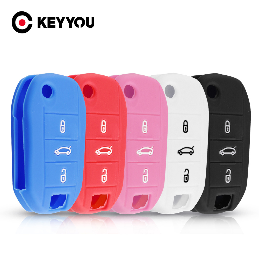 KEYYOU 3 Button For Peugeot 3008 208 308 508 408 2008 For Citroen C4 C5 CACTUS C3 C4L Key Protector Silicone Car Key Case Cover