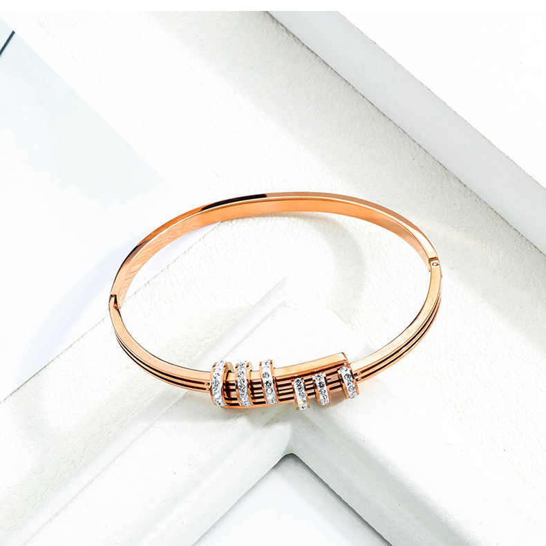316L stainless steel  rose gold  bracelet bangle  fashion temperament set crystal braceletfor women