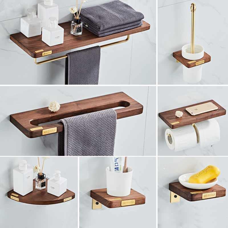 Bathroom Accessories Corner Shelf Toilet Brush Holder Towel Rack Paper Holder Tooth Brush Holder Wood Copper Bath Hardware Bath Hardware Sets Aliexpress