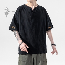 New Japanese Kimonos Short-Sleeved T-shirt Embroidered Harajuku Yukata Japan Summer Male Linen Men Shirts Trousers Asian Costume