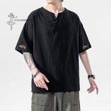 Nowe japońskie Kimonos z krótkim rękawem T-shirt haftowane Harajuku Yukata japonia letnie męskie lniane męskie koszule spodnie azjatyckie kostium tanie tanio YI NA SHENG WU CN (pochodzenie) Linen YLET28127 Japanese-Style Retro Short Sleeve Ordinary Summer Leisure Embroidery Adult