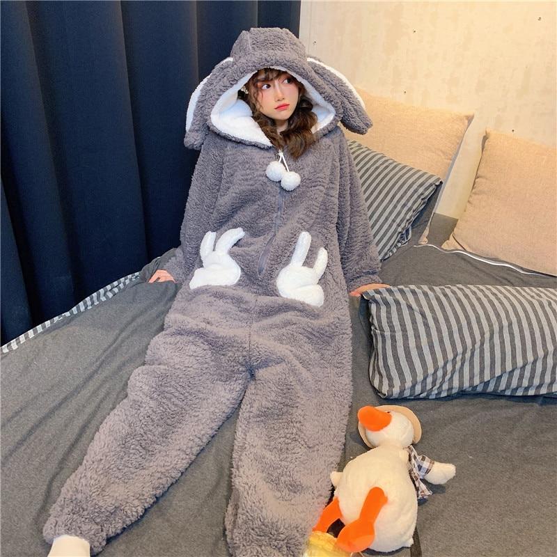 Winter Thicken Onesie Pajamas Women Warm Plush Kawaii Animal Rabbit One Piece Cosplay Bunny Homewear Sleepwear Jumpsuit Costume