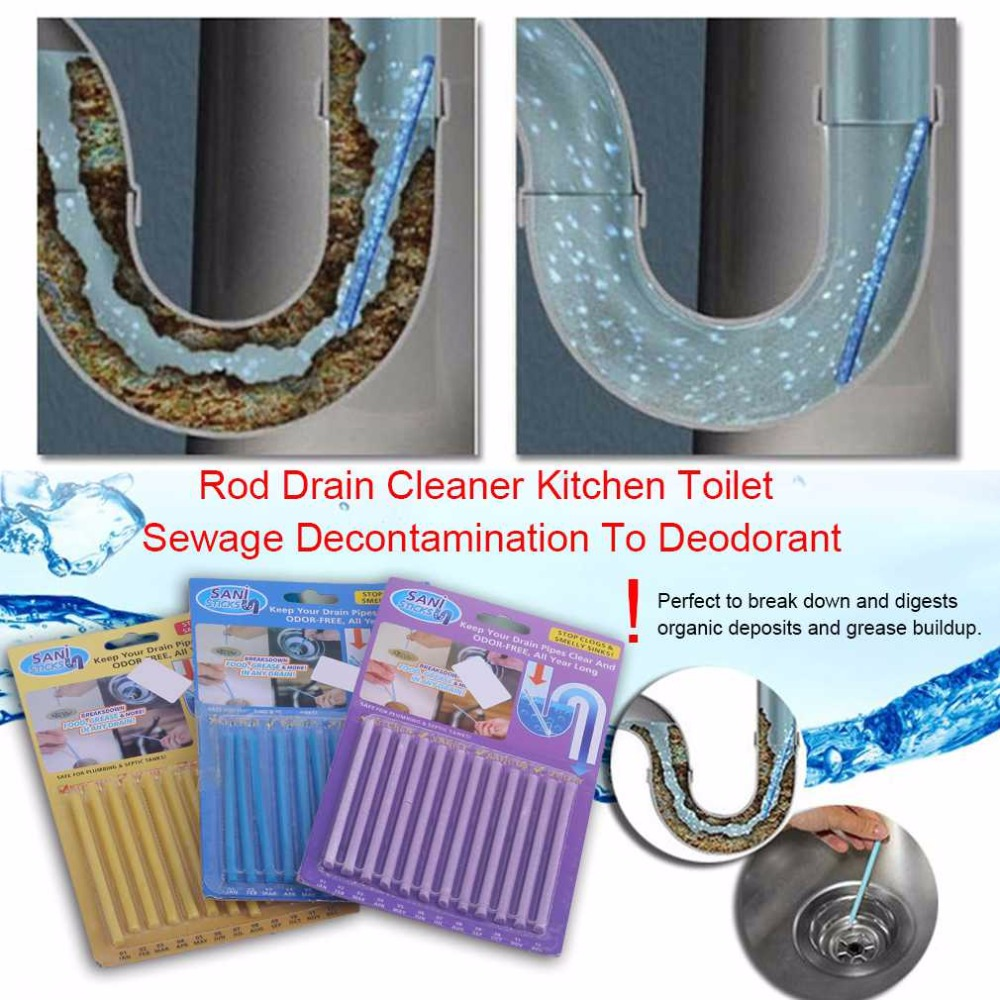2018 New 12pcs Rod Drain Cleaner Kitchen Toilet Bathtub Sewage Decontamination To Deodorant Sewer Cleaning Tool in Drain Cleaners from Home Garden
