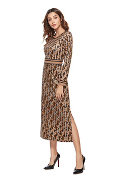 SKYYUE new pattern women print dress sleeve female casual straight dresses chic Mid-Calf length vestidos party dress  plus size 4
