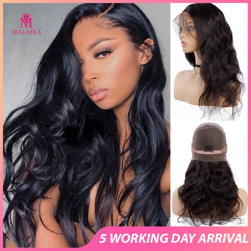 MALAIKA Body Wave Full Lace Human Hair Wigs For Women Pre Plucked Wig With Baby Hair 12-26 Inch Brazilian Hair Bleached Knots