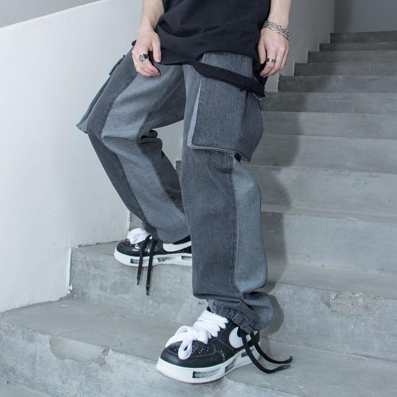 Men Colors Splice Streetwear Hip Hop Casual Loose Elastic Waist Cargo Jeans Trousers Male High Street Fashion Denim Pant