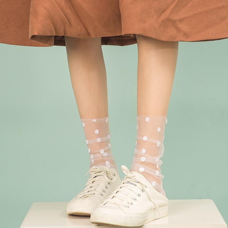 Korean Polka Dot Tulle Socks Women Transparent Ultra-Thin Long Socks Female Chiffon Funny Socks Knee Streetwear Calcetines Mujer