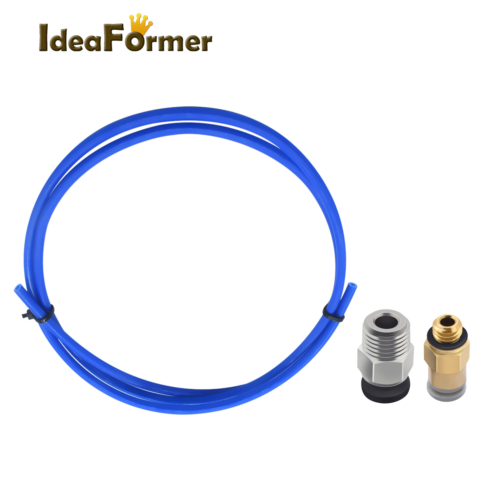 1M Bowden PTFE Blue Teflon Tube+1Pcs Quick Fitting + 1Pcs Straight Pneumatic Fitting Push To Connect For 3D Printer Parts