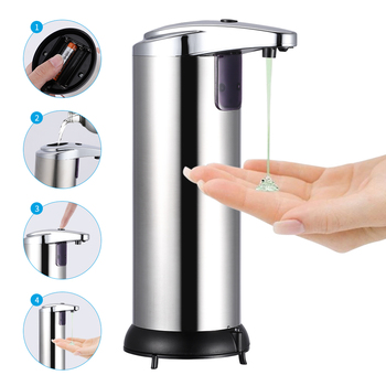 250ml automatyczny dozownik do mydła ze stali nierdzewnej automatyczny czujnik podczerwieni bezdotykowy dozownik na mydło w płynie tanie i dobre opinie CN (pochodzenie) Dozownik mydła w płynie NONE Automatyczny dozownik mydła ---- Dozowniki mydła w płynie Stainless Steel