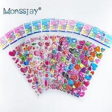 12 Sheets/pack Love Heart Shape Hot 3D Cute Sticker Toy Kids DIY Bubble PVC Stickers Lovely Reward Sticker For Children