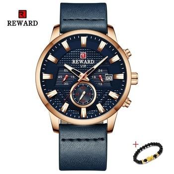 цена на New REWARD Date Chronograph 24 Hour Luminous Watch Men Luxury Sports Quartz Watches Clock Leather Analog Watch Relogio Masculino