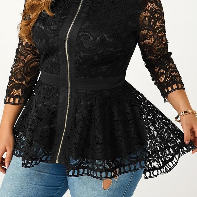 6XL Plus Size Lace Patchwork Blouse Women Spring Loong Sleeve Shirts Hollow Out Laides Tops Elegant Slim Blouses Blusas D30 4