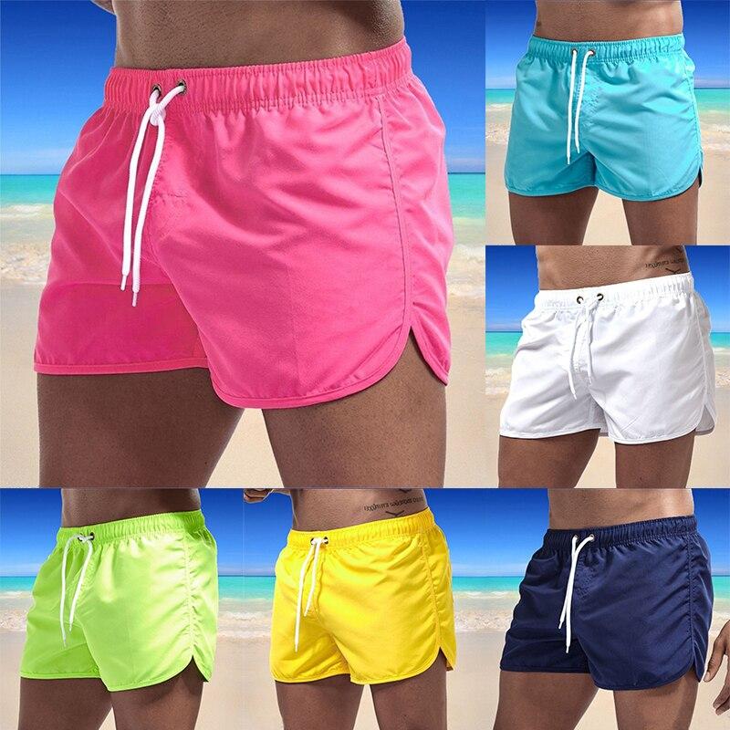 2021 Summer Men's Swimwear Shorts Brand Beachwear Sexy Swim Trunks Men Swimsuit Low Waist Breathable Beach Wear Surf