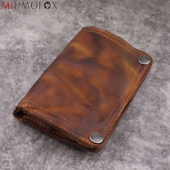 Handmade Wrinkle Wallet Original Leather Genuine Cow Leather Vertical Mens Wallets Retro Money Clips Luxury Short Billfold Purse 1