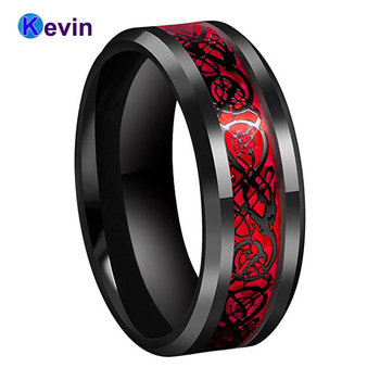 Black Mens Wedding Ring Dragon Tungsten Carbide With Red Opal And Inlay