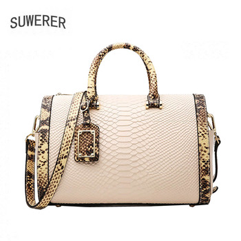 SUWERER New Women leather bag luxury handbags women bags designer leather shoulder crossbody bags for women handbag Serpentine ly shark women bag ladies genuine leather handbag shoulder female crossbody bags for women luxury handbags women bags designer