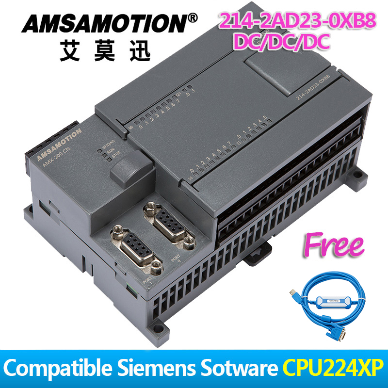 Купить с кэшбэком Promotion!!! Amsamotion PLC S7-200CN CPU224XP 14I/10O 2AI 1AO AC/DC/RLY 6ES7 214-2BD23-0XB8 With PPI Cable Free