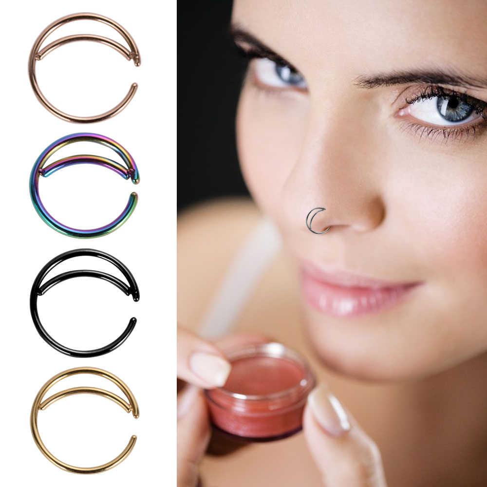 TIANCIFBYJS 1pcs U בצורת מזויף האף טבעת חישוק מחץ טבעות נירוסטה האף פירסינג מזויף פירסינג ם Pircing תכשיטים