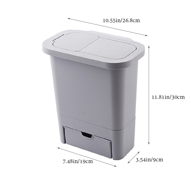 Hanging Trash Can with Lid Kitchen Cabinet Door and Wall-Mounted Waste Baskets 3
