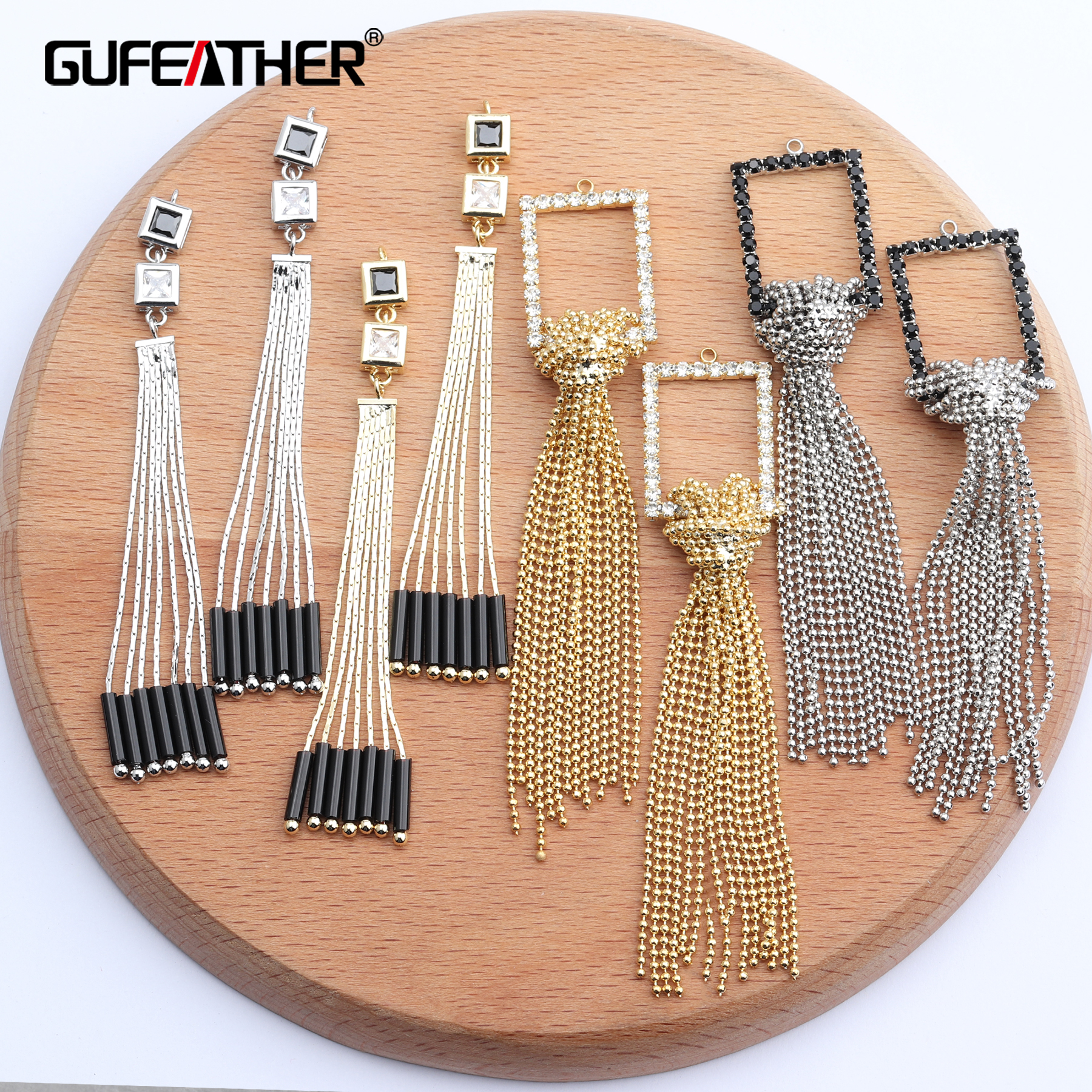 GUFEATHER M630,jewelry Making,jewelry Findings,diy Tassel Pendant,hand Made,18k Plated Gold,stable Quality,diy Earrings,4pcs/lot