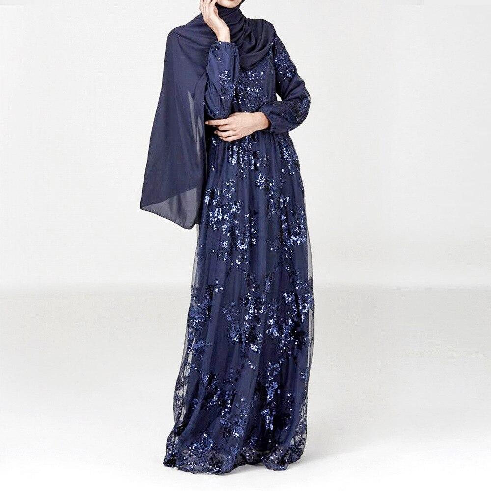 Robe musulmane transfrontalière haut de gamme sequin broderie tempérament asie du sud-est moyen-orient dubaï Double couche Robe femmes