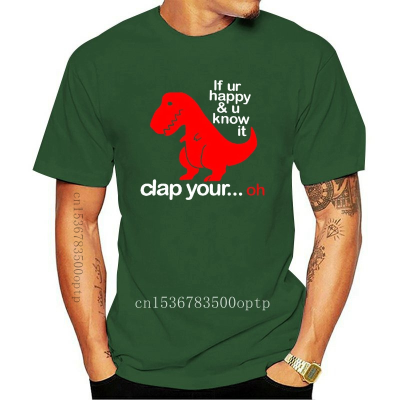If You/'re Happy and You Know It Women/'s Long Sleeve Tee T-Rex Fail Funny Dino
