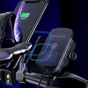 Image 4 - עמיד למים 12V אופנוע טלפון צ י מהיר טעינה אלחוטי מטען סוגר בעל הר Stand עבור iPhone Xs MAX XR X 8 סמסונג Hu