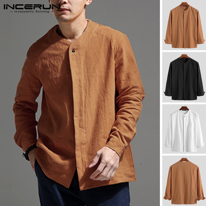 INCERUN 2020 Vintage Men Shirt Long Sleeve Retro Cotton Linen Button Casual Blouse V Neck Solid Chinese Style Shirts Men Camisa