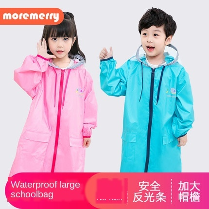 Pink Waterproof Rain Poncho Outdoor Raincoat Kids Space for Schoolbag Children Boy's Yellow Rain Coat Cover Hiking Impermeable 2
