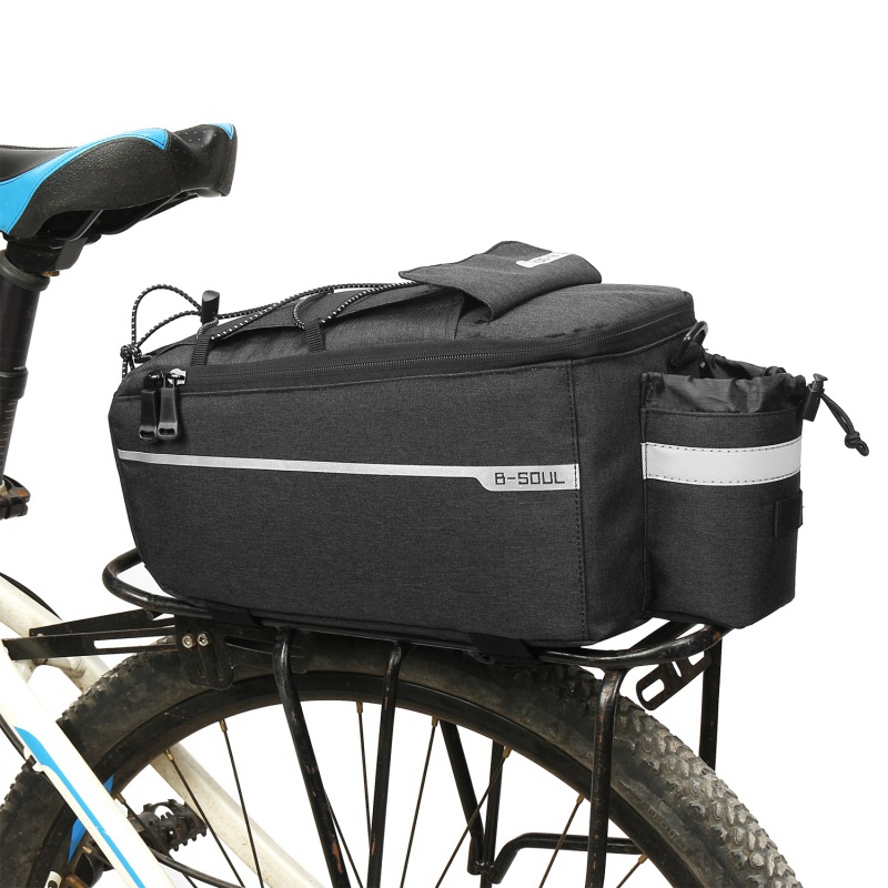 Bicycle <font><b>Bag</b></font> Insulated Trunk Pack Cycling Bicycle Rear Rack Storage Luggage Pouch Reflective MTB <font><b>Bike</b></font> Pannier Shoulder <font><b>Bag</b></font> image