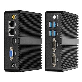 Fanless Mini PC Intel Celeron J1900 Windows 10 Dual NIC Gigabit Etherent 2x RS232 HDMI VGA WiFi 4xUSB Linux Industrial Computer