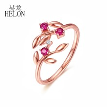 HELON Solid 14K Gold AU585 Rose Gold Genuine Natural Diamond & Ruby Ring Wedding Party Fine Jewelry Gemstone Ring For Women Gift(China)