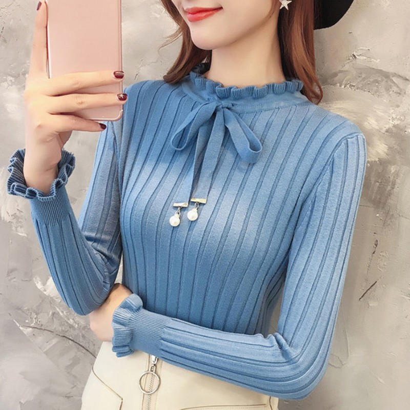 New Slim Knitted Sweater Female Long Sleeve Autumn Sweater Womens Pullovers Sweaters Winter Petal Sleeve Bead Sweater Women